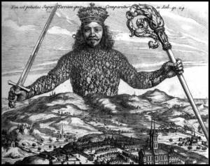 """Portada de El Leviatán de Hobbes. La frase latina que aparece en la parte superior se puede traducir como """"No hay poder sobre la Tierra que se le compare""""."""