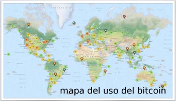 Mapa del uso del bitcoin. (click para ver mapa actualizado)